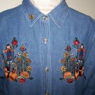 Womens Large Shirt Bobbie Brooks Fall Thanksgiving Denim Button up Jeans Top Scarecrow Pumpkins