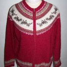 Womens Large Zip Front Fair Isle Holiday Christmas Sweater Embroidered Pine Cones