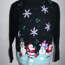 XL Ugly Christmas Party Pullover Sweater Black Aqua Beaded Embroidered Snowmen Snowflakes Stars