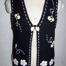 Mandal Bay Womens Black Bumble Bee Sweater Vest Beaded Bees & Flowers Medium