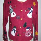 Womens Ugly Christmas Sweater Party Winner Snowmen Medium Bust Chest 40 Inches