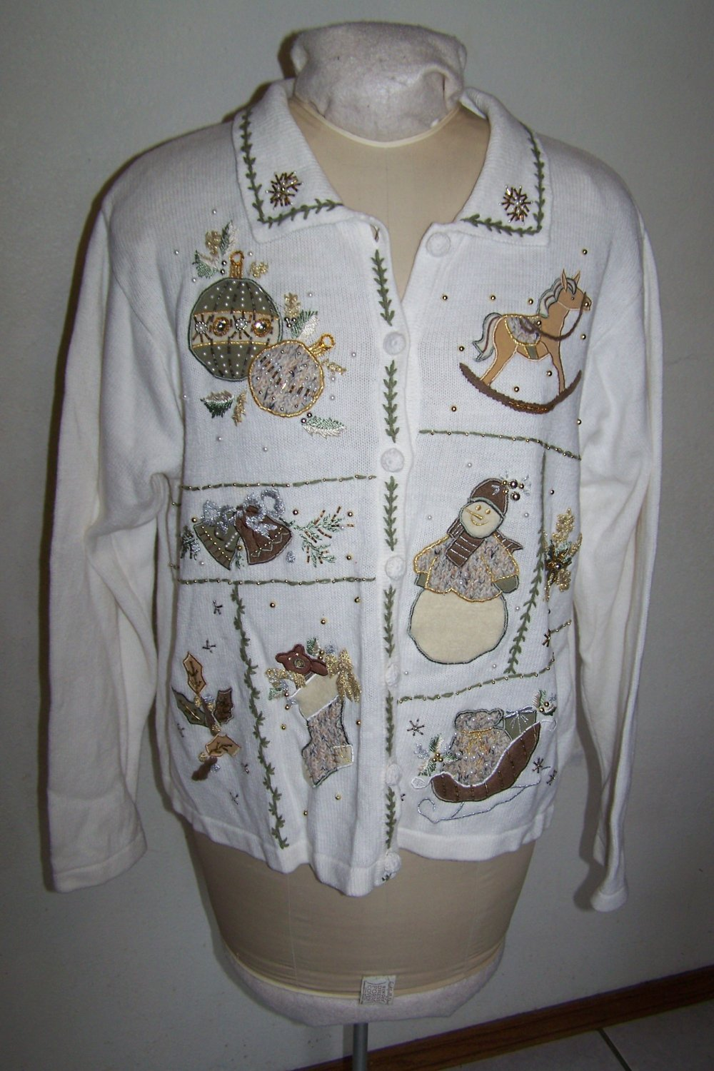 XL Ugly Christmas Party Sweater White Cardigan Beads Metallic Thread Rocking Horse Bells Sleigh