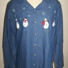 Denim Long Sleeve Ugly Christmas Party Shirt XL 16 18 Snowmen Silver Snowflakes and Snowballs