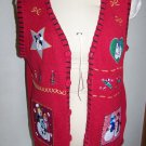 Womens Large Ugly Christmas Party Red Cardigan Sweater Vest Snowmen Appliqued Embroidered