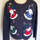 Designers Studio Originals Cardigan Sweater Ugly Christmas Snowmen