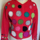 Susan Bristol Bright Red Hoodie Sweater Patchwork Circles