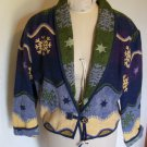 Vintage Womens Flashback Ugly Christmas Snowflake Afghan Blanket Jacket Winter Coat