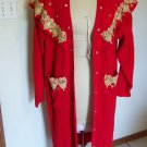 Vintage Red Focus Womens Jacket Long Sweater Coat Bedazzled Jewels Metallic Gold Beads and Thread