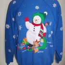 Vintage Sweats Appeal Sweatshirt Ugly Christmas Party Tacky Fabric Paint Snowman Train Doll Gifts