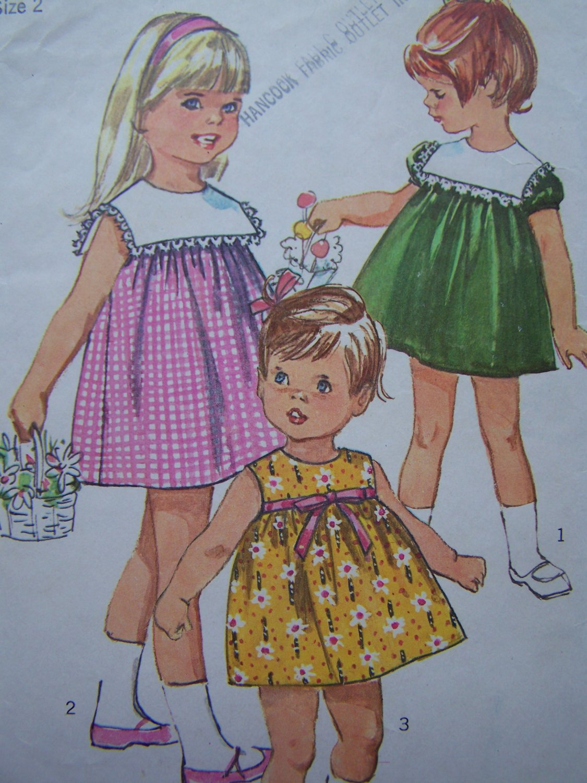 Vintage Toddler Girls 2 Dress High Round Neck Square