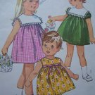 Vintage Toddler Girls 2 Dress High Round Neck Square Collar Sewing Pattern 6565