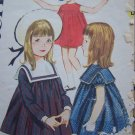 Vintage Girls Toddler 3 Dress Square Collar Sleeveless Long or Short Sleeves Sewing Pattern 3021