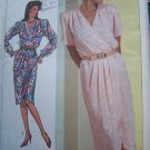 Uncut Vintage Sewing Pattern 7888 Misses Mock Wrap DRESS Tulip Hem & Sleeve Or Long Cuff Sleeves