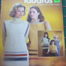 Vintage Womens & Childs Crochet Patterns Tabard Sweaters Tied Sides Mother Daughter 94