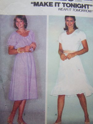 1980s Uncut Easy Vintage Pullover Dress Sleeve & Bodice Cut In One Sewing Pattern 7028