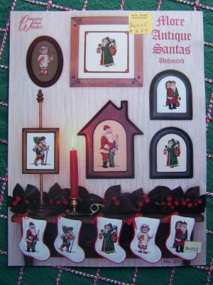 5 Antique Santa Claus Cross Stitch Patterns Free USA Shipping