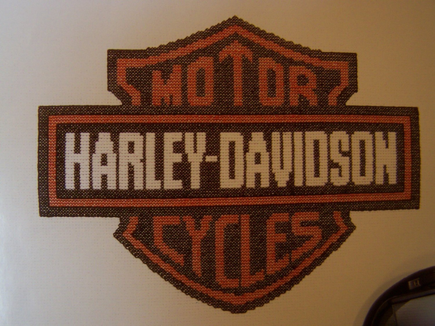 Harley Davidson Motor cycles Cross Stitch Pattern and 2 floss Skeins