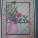 Vintage Counted Cross Stitch Craft Kit Pink Art Deco Flower Vase Something Special