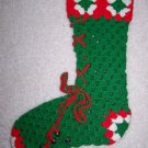 Vintage Crocheted Christmas Stocking Sock Lace Up Boot Jingle Bells Green Red White