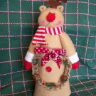New Rudolph Reindeer Christmas Tree Topper Country Rope Wreath Pinecones Berries