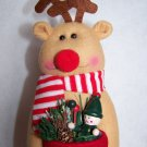 New Rudolph Reindeer Christmas Tree Toppper Decoration Felt Stocking Vtg Ornie