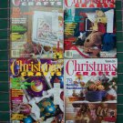 4 Magazine Lot Christmas Crafts Patterns Knitting Crochet Cross Stitch Sewing Needlepoint