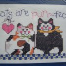 1994 Dimensions Stamped cross stitch craft kit 6668 Purrfect Cats Kitten