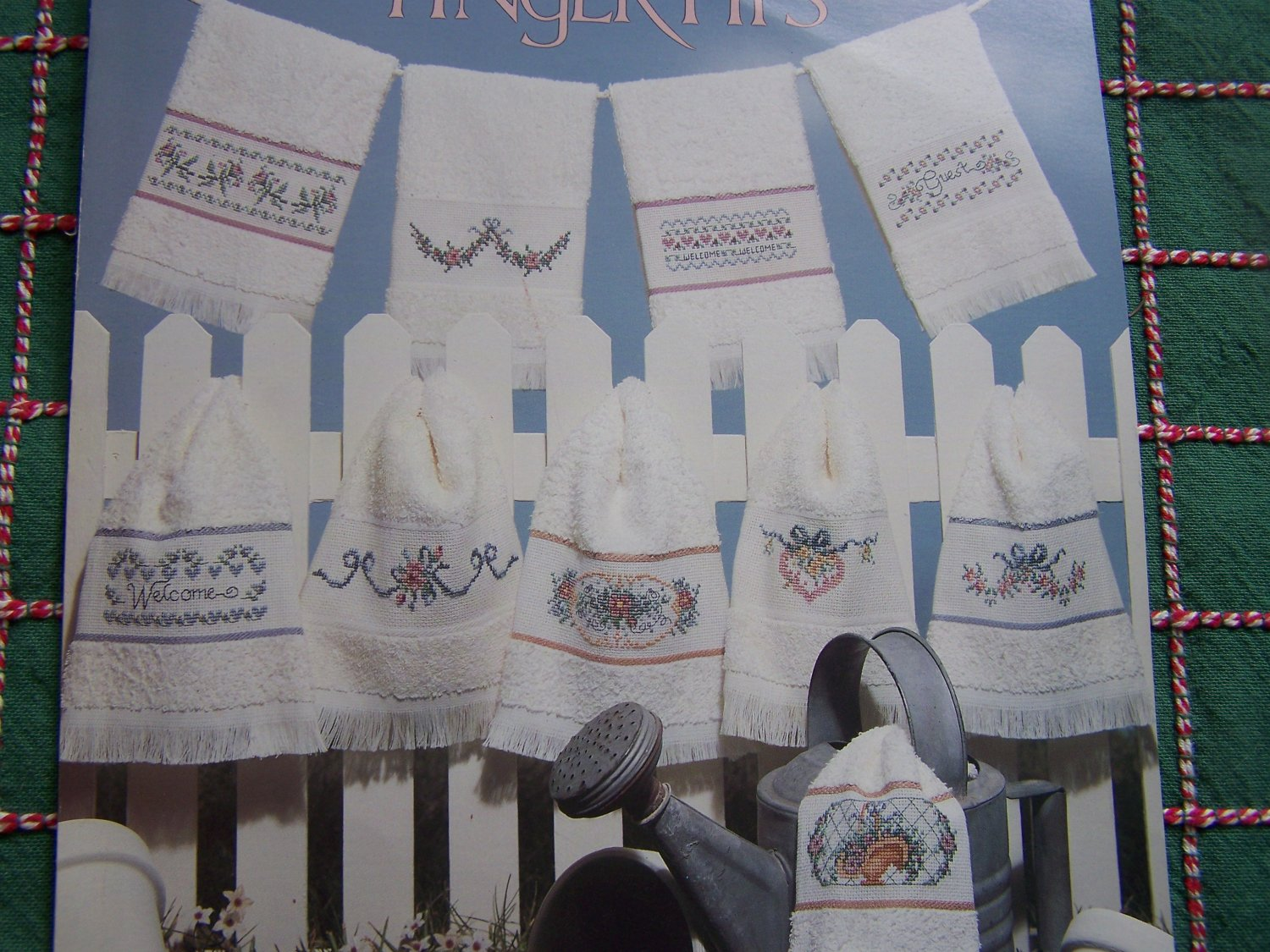 10 VTG Cross Stitch Embroidery Patterns Fingertip Towel Designs