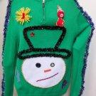 Handmade Snowman Head Sweater XL Ugly Christmas Tacky Beads Gaudy WINNER