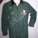Womens 14 16 W Christmas Button Up Tunic Top Shirt Blouse Metallic Ugly Santa