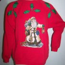 Old World Santa Ugly Christmas Sweatshirt XL Glitter Applique Vintage
