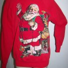 Handmade Big Santa Ugly Christmas Sweater Bag of Toys Front & Back Vintage Large