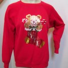 Sparkle Sequin Teddy Bear Stocking NOEL Ugly Christmas Sweater Large