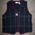 1X Sequined Ugly Christmas Sweater Vest Cardigan Snowman Plus Size