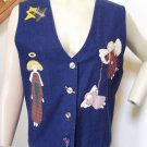 Handmade Christmas Vest Country Appliqued Angels Primitive Stars Folk Art Ugly Plus Size