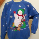 Adults Ugly VTG Christmas Party Sweatshirt Handmade Snowman Glitter Shirt 2XL Plus Size
