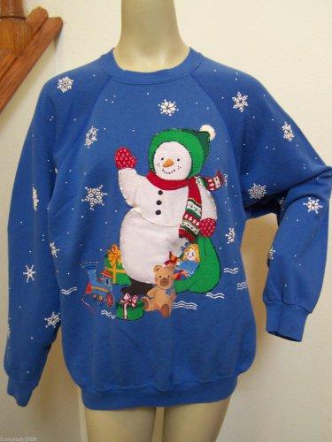 Adults Ugly VTG Christmas Party Sweatshirt Handmade Snowman Glitter Shirt 2XL Plus Size