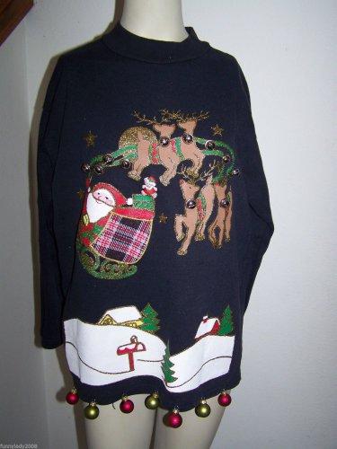 Rudolph Ugly Christmas Sweatshirt Santa Sleigh Ornaments Dangles Vintage Bells