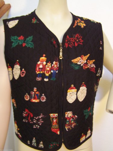 Ugly Christmas Quilted Vest Black With Ornaments Santa Angels Bells Nutcracker