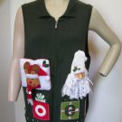 Ugly Christmas Sweater Vest 1X NOEL Santa Head Reindeer Embroidered CJ Banks