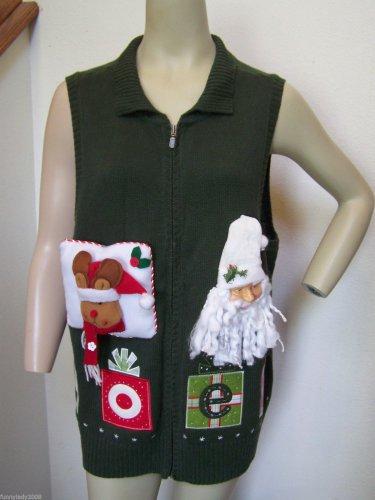 Ugly Christmas Sweater Vest 1X NOEL Santa Head Reindeer Embroidered CJ Banks