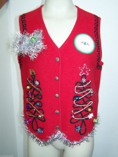 Ugly Christmas Sweater Snap Up Vest Swirl Trees Wool Presents Tinsel Garland Star Gaudy