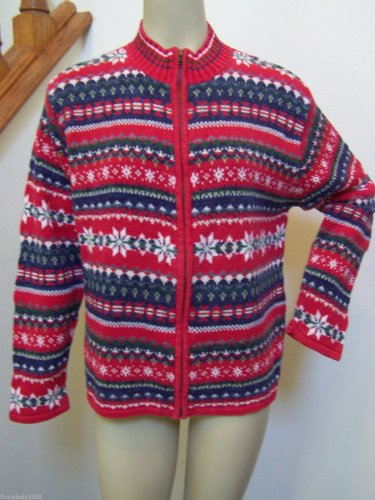 Large Unisex Ugly Christmas Sweater Zip Cardigan Red Blue Green Heirloom 2002