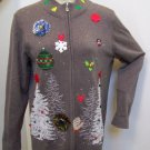 Ugly Christmas Tree Party Sweater Zip Up Cardigan reindeer Ornaments Snowflakes Thin Lightweight