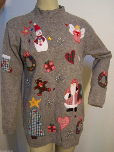 Karen Scott Large Mock Turtleneck Ugly Christmas Gaudy Tacky Santa Snowman Angel