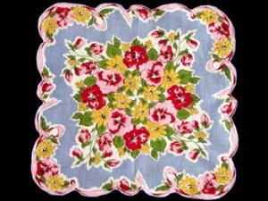 Vintage Floral Pansies Handkerchief