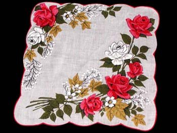 Vintage Red & Pink Roses Floral Handkerchief