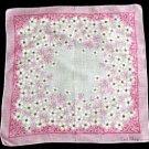 Vintage Ceil Chapman Pink & White Dogwood Handkerchief