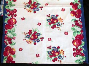 Unused Vintage Fruit & Floral Kitchen Towel