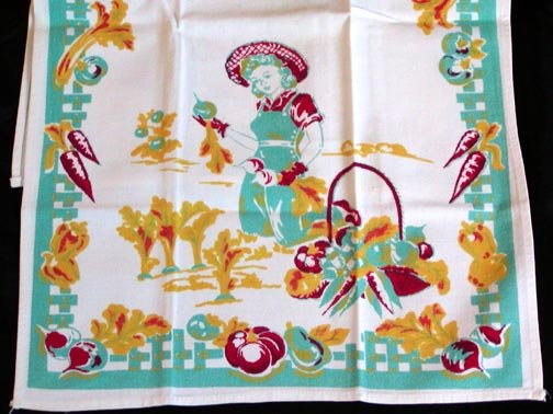 Unused Vintage Vegetable Gardener Kitchen Towel